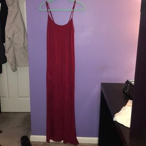 Red Maxi dress with thigh slit